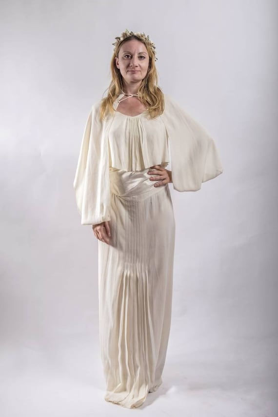 Vintage 1920s/30's Bridal Dress ~ Antique Silk White Dress with Balloon Sleeves ~ Satin Belt and Bralette ~ Bohemian Wedding