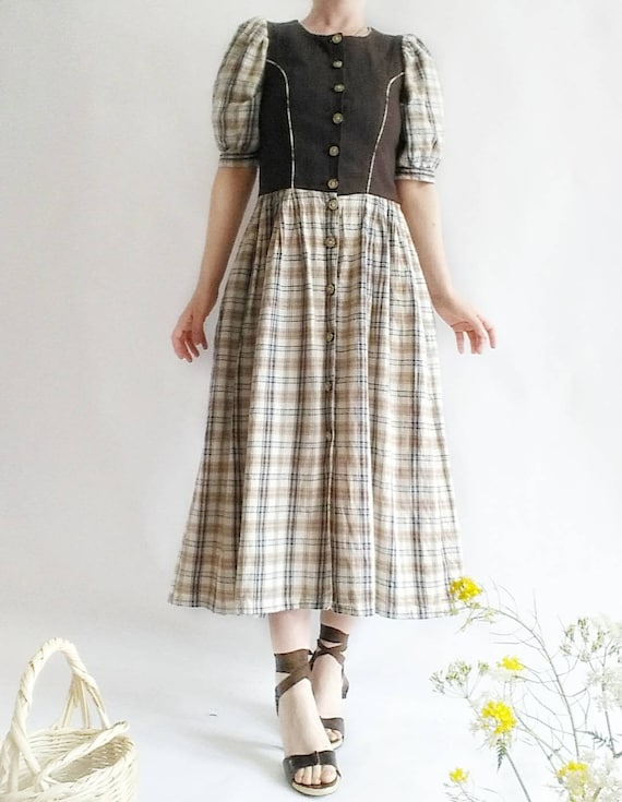 Vintage Austrian Dress with Puffy Sleeves ~ Pure Cotton