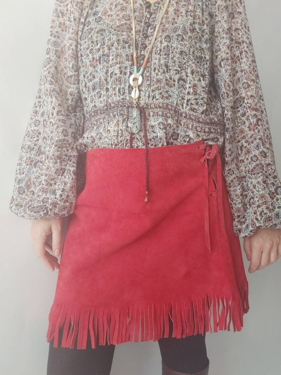 Vintage 70s Red Suede Mini Skirt with Fringes