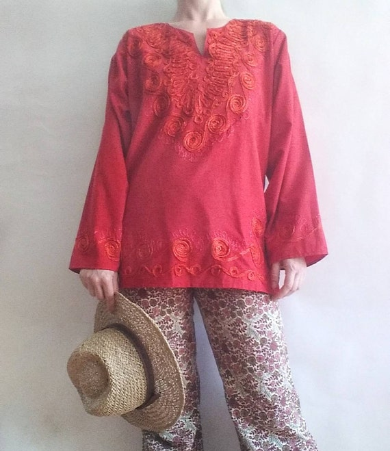 Vintage Embroidered Ethnic Shirt ~ Red Cotton Tunic ~ Made in Morocco