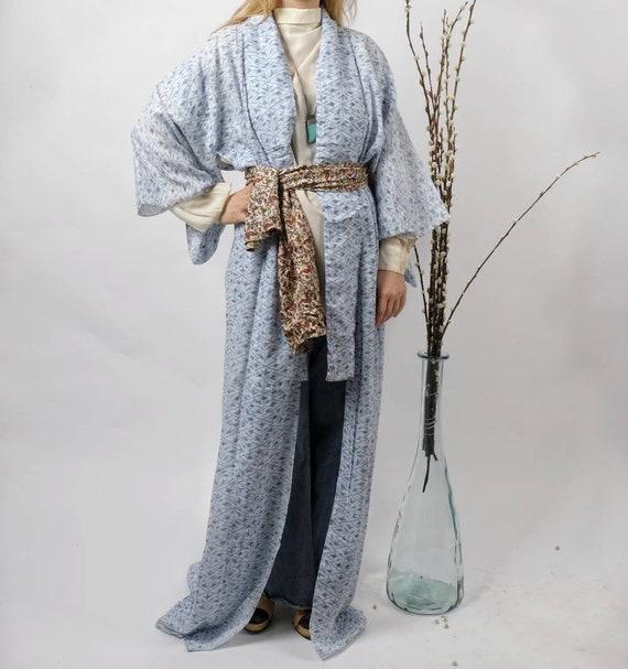 Vintage 70s Kimono ~ Baby Blue Haori ~ Bohemian Gown