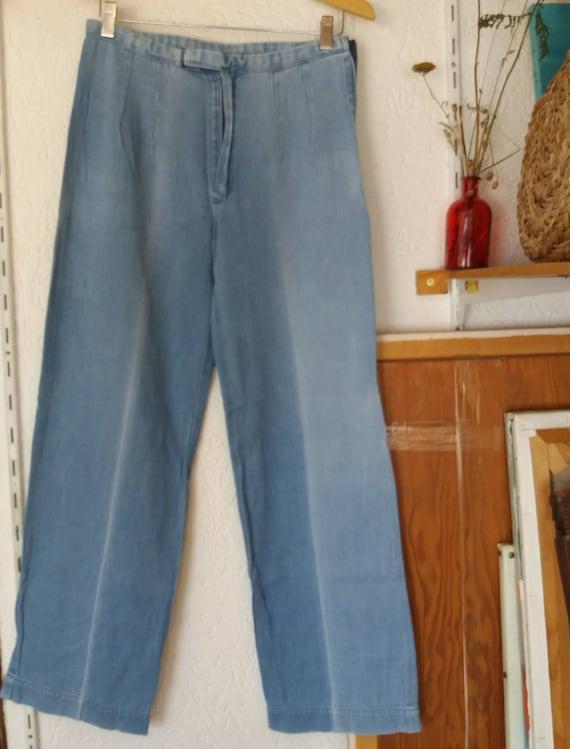FINAL SALE Vintage 70s Denim Pants ~ Light Blue Wide Leg Trousers in Soft Denim ~ Flared Jeans ~Hippie Groovie Style