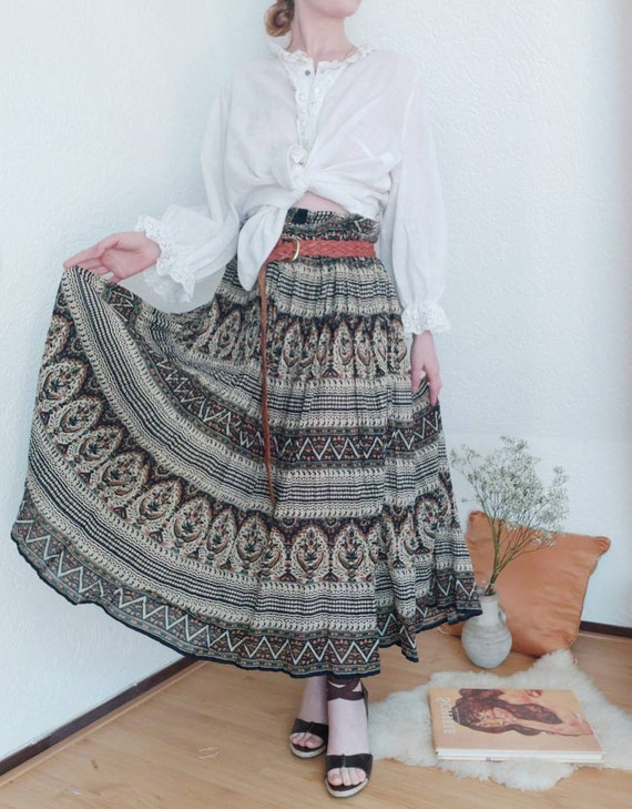 Vintage 70s Gauzy Cotton Skirt ~ Made in India ~ Hippie Bohemian Gipsy Style