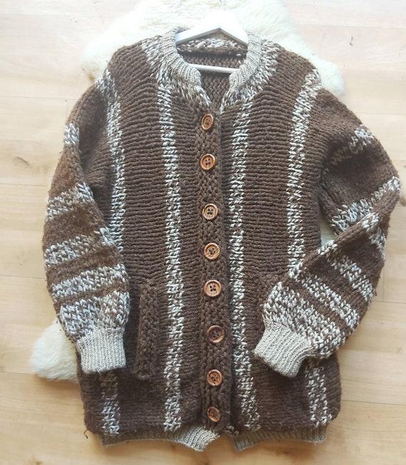 Vintage Handknitted Cardigan ~ Pure Wool