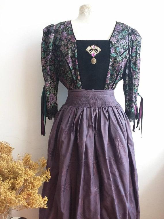 Vintage Dirndl Dress with Apron ~ Folk Dress