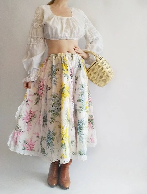 Vintage 70s Patchwork Cotton Skirt with Gorgeous Floral Pattern and Eyelet Lace ~ Made in Italy