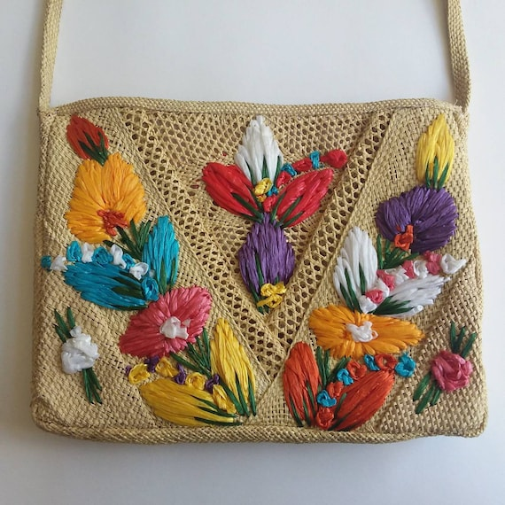 Vintage 60s/70s Raffia Bag ~ Embroidered Floral Straw Bag~ Made in Jamaica