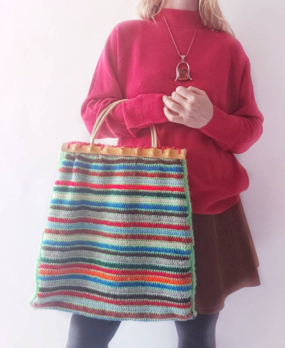 Vintage 60s/70s Rainbow Wool and Bamboo Bag