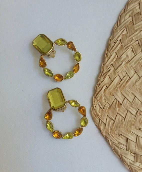 Vintage 70s Hoop Earrings with Stones ~ Clips