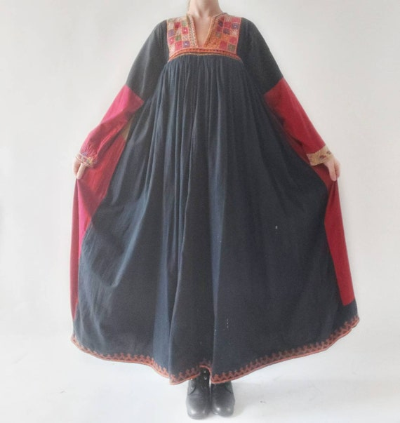 Antique Vintage Afghan Dress ~ Embroidered Cotton Maxi Dress