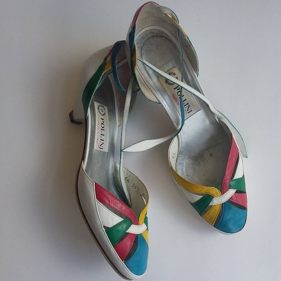 Pollini ~ Vintage 80s Shoes ~ Mary Jane Kitty Heels in Genuine Leather ~ Made in Italy ~ Size 36,5