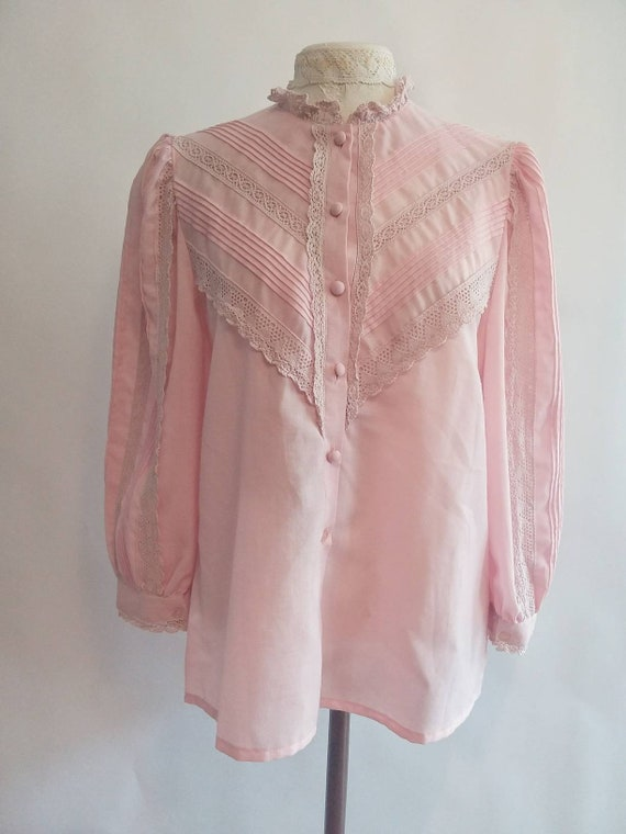 Vintage 70s Victorian Pink Blouse with Crochet Details and Puffy Sleeves
