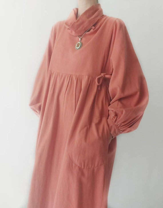 Vintage 70s Blush Cotton Dress with Balloon Sleeves ~ Hippie Style