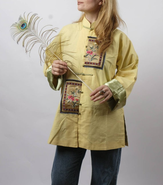 Vintage Oriental Tunic ~ Raw Cotton and Silk Embroidery