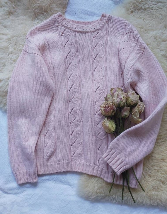 Vintage Pink Knitted Sweater ~ Pure Wool