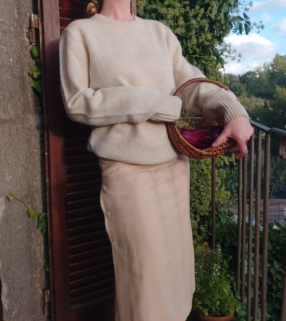 Vintage White Sweater in Pure New Wool