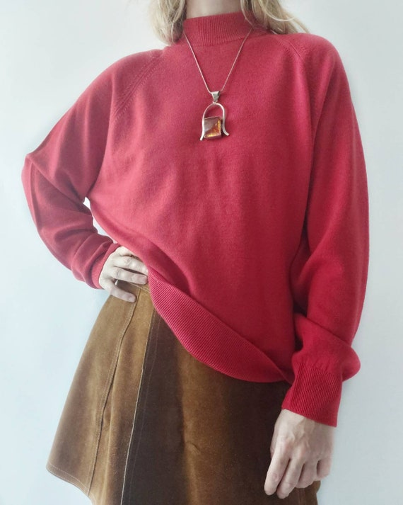 Vintage 70s/80s Red Sweater in Pure Merino Wool ~ Made in Great Britain ~ Mint Conditions