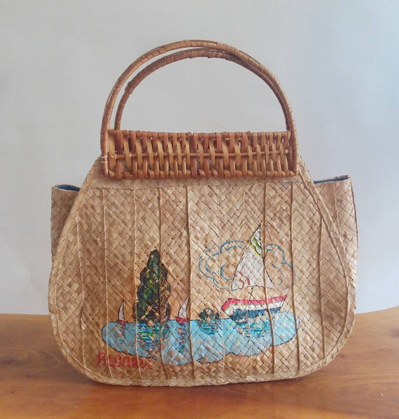 Vintage 70s Straw Bag ~ Handpainted ~ Vintage Souvenir Basket Bag ~ Made in Portugal