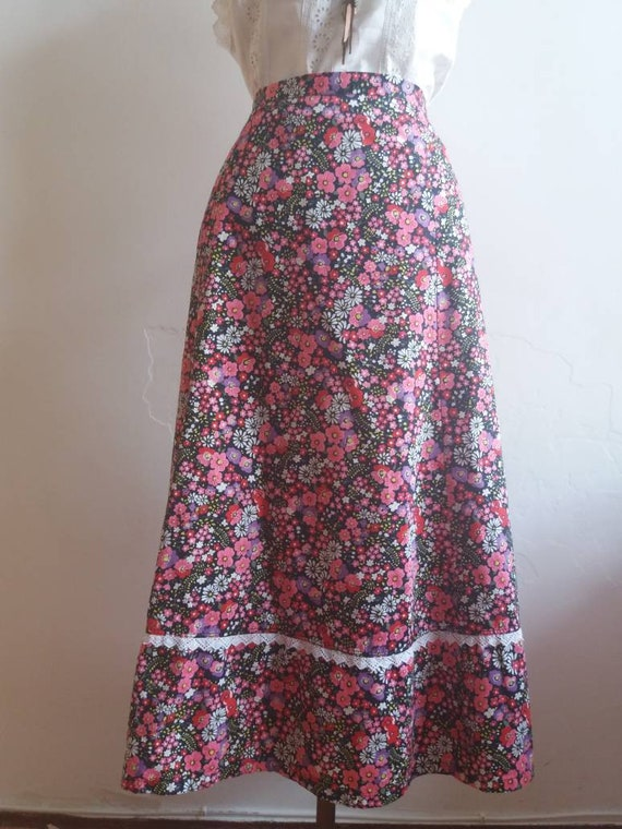 Vintage 60s/70s Hippie Skirt - Liberty Floral Cotton Skirt ~ Bohemian Praerie Style