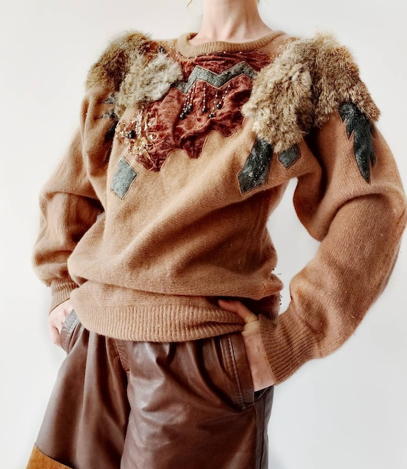 Vintage 80s Patchwork Sweater with Velvet and Fur ~ Positano Style