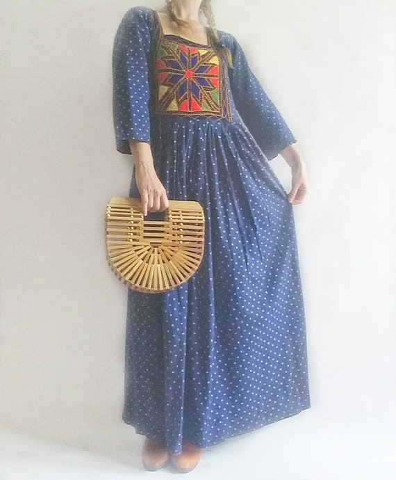 Vintage 70s Afghan Dress ~ Embroidered Cotton Maxi