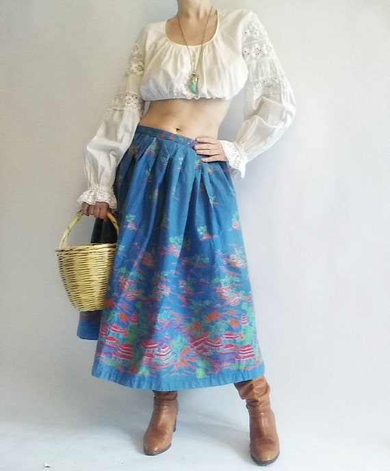 Vintage 50s Skirt ~ Asiatic Scenes ~ Handmade in Cotton