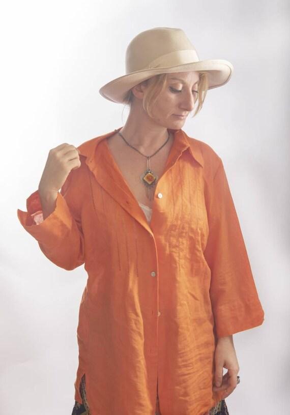 Vintage Linen and Cotton Orange Shirt