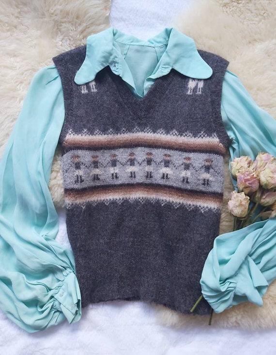 Vintage 70s Alpaca Vest ~ Made in Peru