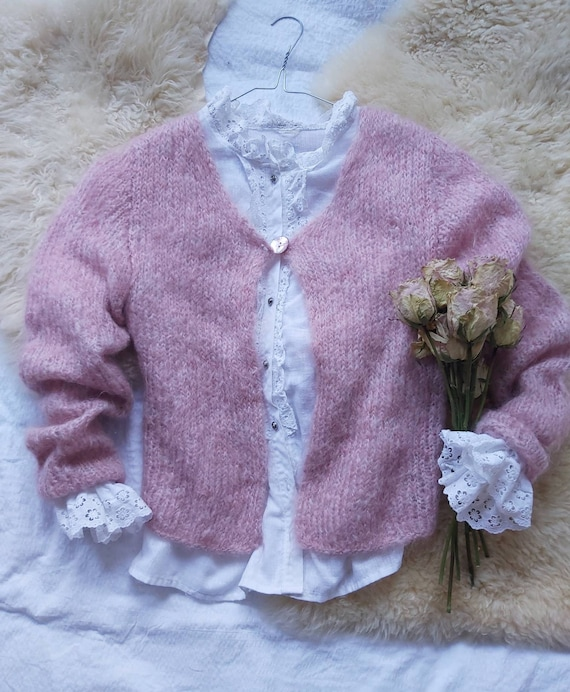Vintage Mohair Pink Cardigan ~ Made in Italy