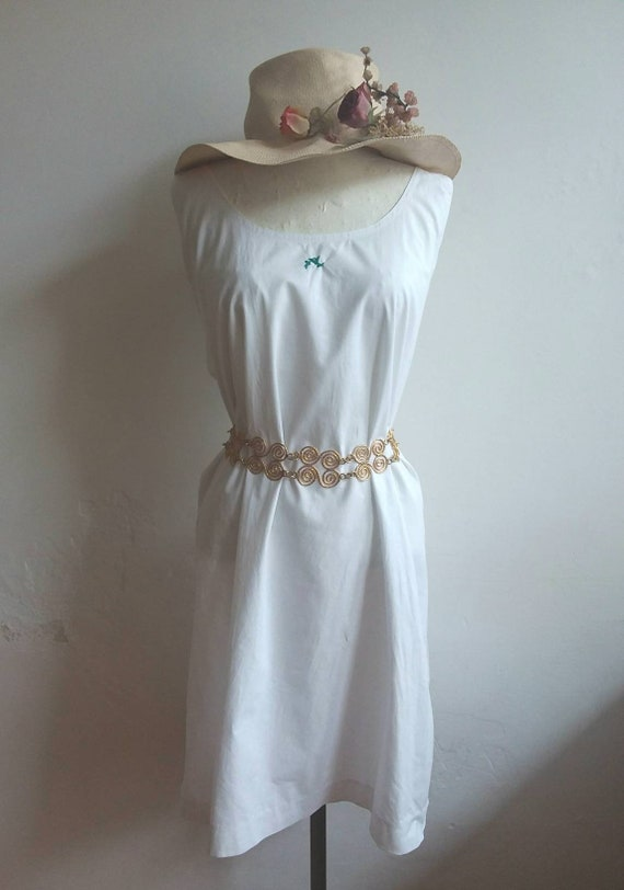 Antique 1910s Pettycoat ~ White Cotton Dress with Embroidery ~ Made in Italy