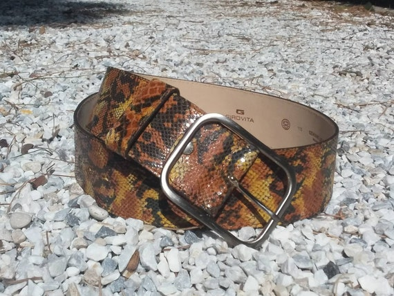 Vintage 70s Python Leather Belt ~ Made in Italy