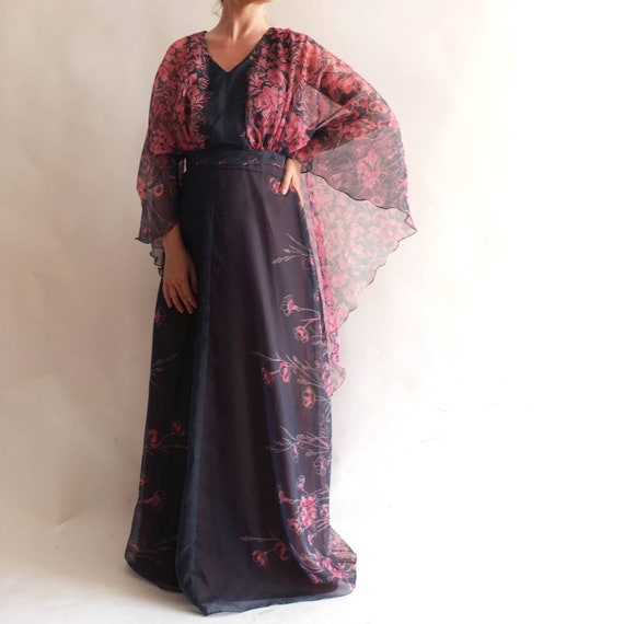 Vintage 70s Bohemian Maxi Dress with Angel Sleeves