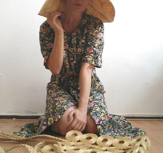 Vintage Gauze Cotton Dress ~ Floral Buttoned up Dress or Kimono Duster ~ Liberty William Morris Style