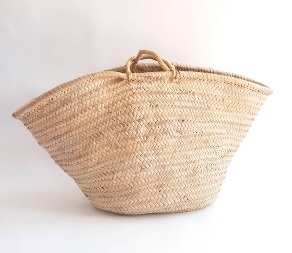 Vintage 70s Maxi Straw Basket Bag