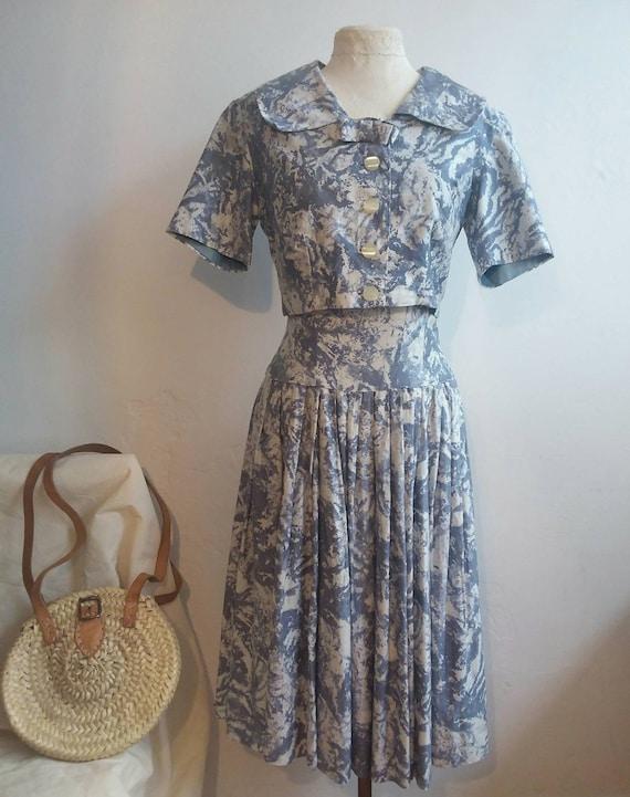Vintage 50s Dress and Cropped Shirt Suit Saint Tropez Bardot Style !