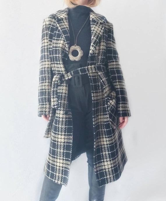 Vintage 70s Black and White Wool Coat