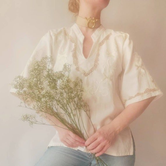 Vintage 70s Embroidered Cheesecloth Shirt with Crochet