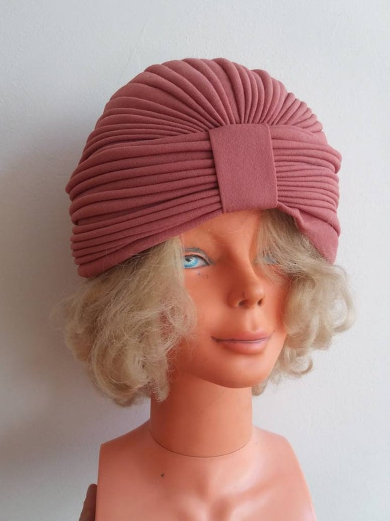 Vintage 60s/70s Turban ~ Dusty Pink Bohemian Chic Handmade Hat ~ Art Decor Style