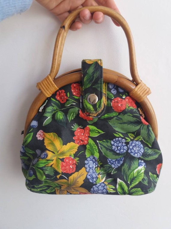 Vintage 60s Floral Purse ~ Bamboo Handles ~ Cotton Fabric ~ Chinese Style ~ Romantic Lolita
