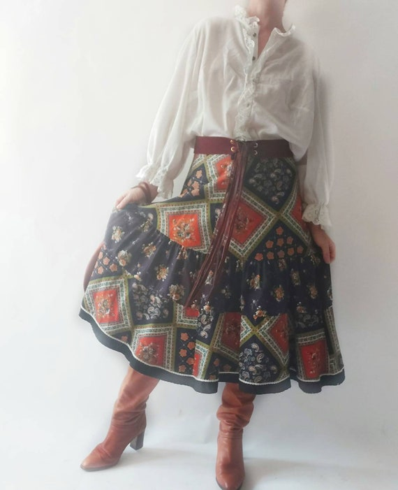 RESERVED ~ Vintage 70s Bohemian Patchwork Skirt with Folky Print