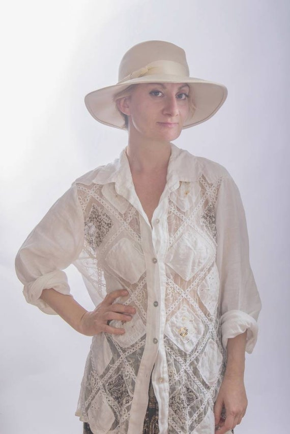 Vintage 70s Patchwork Linen Shirt ~ Made in Italy ~ Positano Style