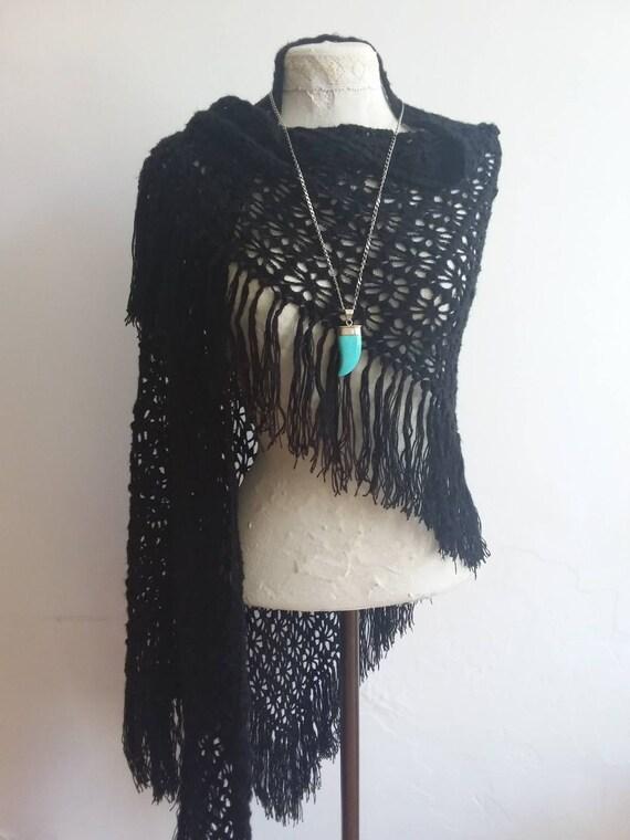 Vintage 70s Crochet Maxi Shawl ~ Black Handknitted Gipsy  Stole ~ Stevie Nicks Style
