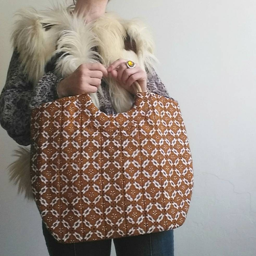 Vintage 60s Batik Bag Cotton And Wood Hippie Boho Style Made In Brown Indonesia