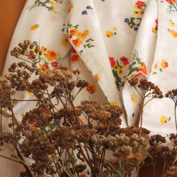 Vintage 70s White Floral Shirt