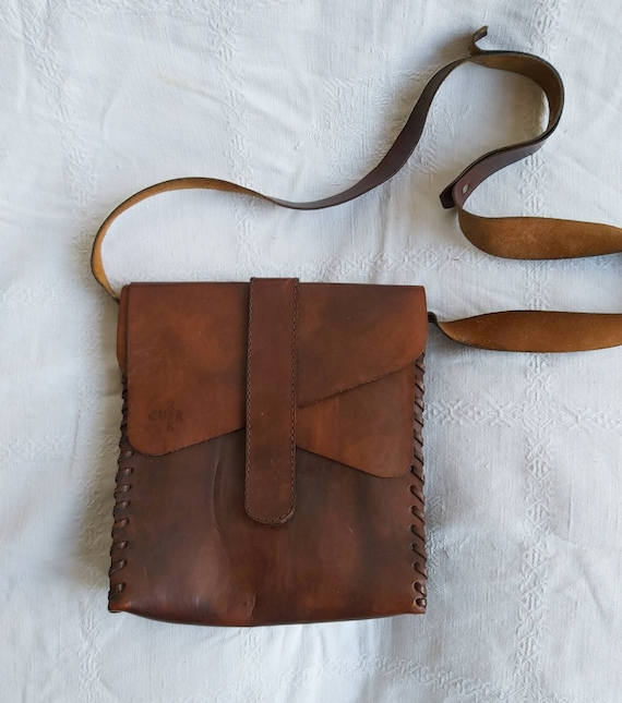 Vintage 70s Leather Bag ~ Handmade in France