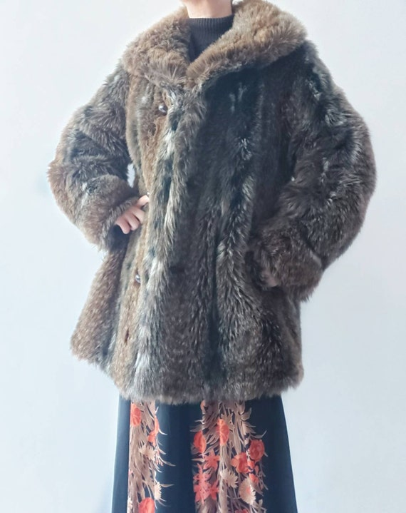 RESERVED ~ Vintage 70s Eco Fur Coat ~ Made in Paris