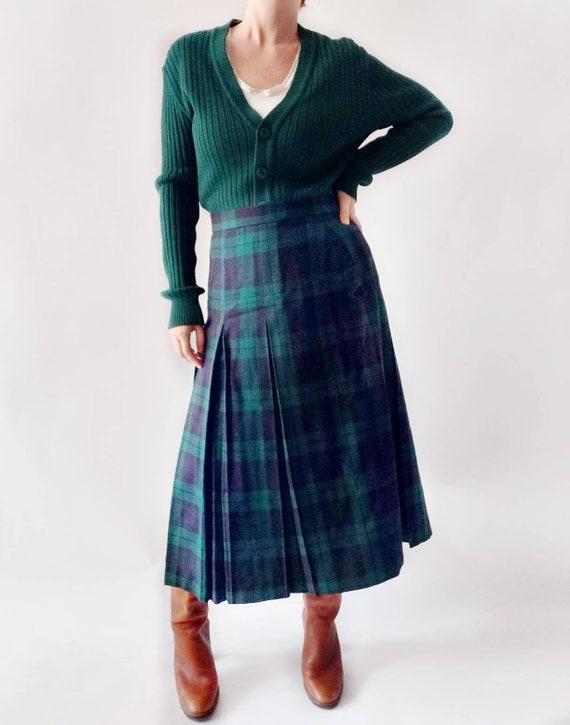 Vintage 70s Tartan Skirt ~ Pure New Wool ~ Made in UK