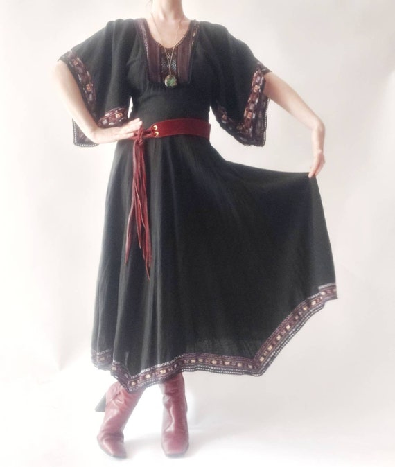 Vintage 70s Black Cheesecloth Dress with Patchwork