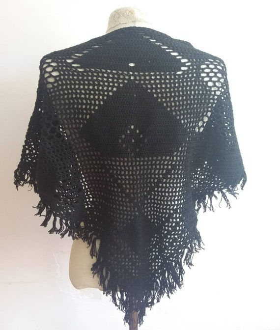 Vintage 70s Crochet Shawl ~ Bohemian Gipsy Black Stole