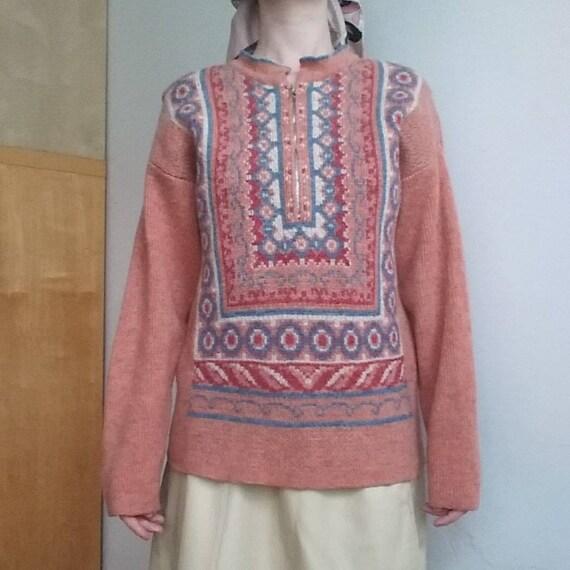 Vintage 70s Pink Wool Sweater ~ Norwegian Style Knit ~ Handmade